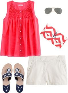 """Coral Chevron"" by pinkprep37 ❤ liked on Polyvore"