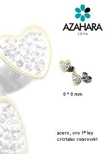 Pendientes de acero y oro de Azahara Joya con motivo de corazón, oro amarillo en forma de bisel rodeando el pendiente y cristales de swarovski en el motivo. Sistema de presión.