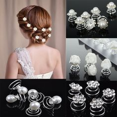 Wholesale 12pcs Princess Crystal Rhinestone Flower Pearl Hair Clips Hairpin for Women Bride Wedding Hair Accessories