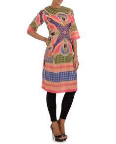 Printed Long Tunic #Psychedelic #Fashion #ManishArora #Sale #Discount #Love #Designer #Indian #Ethnic #Fusion #Digital #Printed