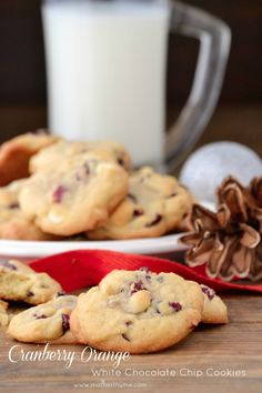 Easy recipe for soft and chewy Cranberry-Orange White Chocolate Chip Cookies, part of the Countdown to Christmas Cookies series. Cookie Desserts, Cookie Recipes, Dessert Recipes, Yummy Treats, Delicious Desserts, Sweet Treats, Orange Recipes, Sweet Recipes, Cranberry Orange Cookies