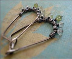Petiole Earrings Flourish Collection - Handmade. Peridot. Prehnite. Oxidized fine and sterling silver $40.50 #bohemian