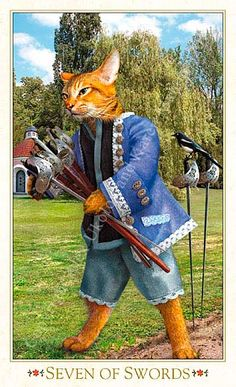 Seven of Swords Bohemian Cats Tarot