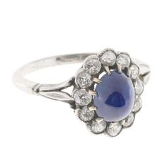 High Dome Natural Cornflower Cabochon Sapphire Diamond Platinum Ring