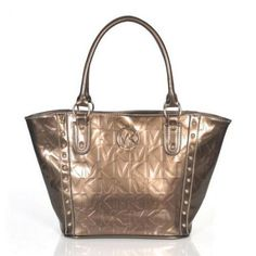 Michael Kors Logo Studded Medium Gold Totes Outlet