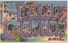 1940s GRAND CANYON Large Letter Postcard Colorful Curteich Linen - Unused