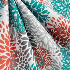 Flower Blooms Curtains/Window Treatments, Blooms Pacific, Turquoise, Orange, and Grey Curtains Flowers in Bloom Curtains