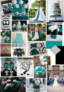 Teal, Black & White Wedding Color Scheme - Teal Ideas & Inspiration- get the perfect shade table cloths to match www.tableskirtsandmore.com