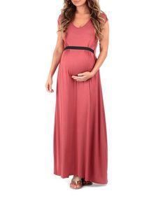 f4571af4e98 Dark Mauve Belted Maternity Maxi Dress  zulilyfinds Maternity Maxi