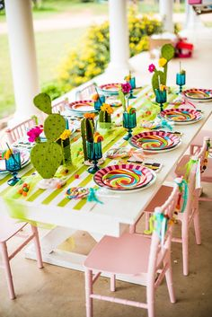 Colorful Cacti and Candy Summer Soirée Colorful Cactus and candy Fiesta Table Taco Party, Fiesta Party, Candy Party, Teenager Party, Summer Party Decorations, Fiesta Decorations, Mexican Party, Mexican Candy Table, Vintage Party