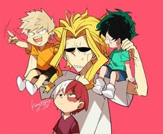 My Hero Academia (Boku No Hero Academia) #Anime #Manga little Todoroki, little Midoriya, little Bakugou, and All Might