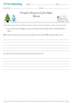 Students will watch one Simon's Cat video and then use their inferencing skills to predict what the cat would do if he was inside their text, as well as how the characters in their text would react. Simons Cat Video, Literacy Worksheets, Inference, Book Title, Cat Gif, Students, Author, Characters, Watch