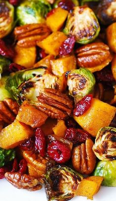 Side Dish: Roasted Butternut Squash and Brussels sprouts with Pecans and Cranberries