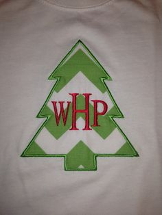 Boy's Monogrammed Chevron Christmas Tree Tee Shirt or by Bouffants, $18.00
