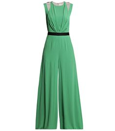 Silk All-In-One by Roksanda Ilincic. This green sleeveless all-in-one has a round-neck, cutout shoulder detail, and a drop-crotch with an exposed centre-back zip. The jumpsuit has front pleat detail, a black waist band and flared legs with slanted side pockets. #Matchesfashion