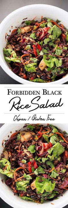 Vegan Forbidden Black Rice Salad - Black Rice Studded with Roasted Veggies, tossed with an Apple Cider Vinegar Dressing.