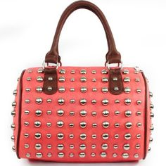 Amazon.com: Fashion Exotic Silver Raised Studded Boston Handbag Tote Shoulder Adjustable-strap Satchel Luggage Handbag Purse in Coral Peach: Clothing $49.99
