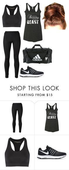 """""""Gym"""" by brookebaileybirdwell ❤ liked on Polyvore featuring Versace, Lucas Hugh, NIKE and adidas"""