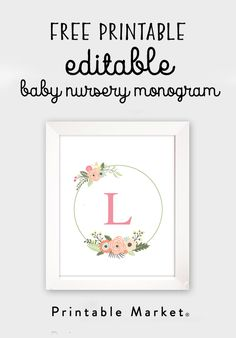 Free Printable Baby Nursery Monogram Decor – Floral Wreath Baby Girl – Printable Market