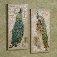 Pretty Peacock Canvas Wall Art Set from a touch of class on sale for 115.00 Jan. 2014.
