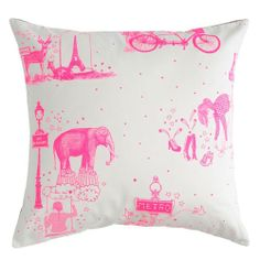 Toile de Jouy neon pink cushion cover by La cerise le gateau, large 50cm x 50cm