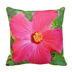 Forgot one person. perfect for her couch. Tropical Decor, Designer Pillow, Hibiscus, Throw Pillows, Create, Green, Pink, Couch, Art