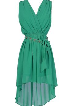 Ethereal Chain Belt High Low Chiffon Dress in Jade