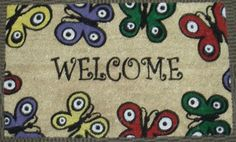 Welcome Butterflies - Printed Coco Doormat - Heavy Duty Outdoor Premium Coir Mat 18x30 by Iron Gate - Extremely durable - Traps dust - Welcome your guests with this high quality doormat by Iron Gate. $15.99. Heavy Duty attractive printed Welcome Butterflies premium outdoor coir mat.. The bristled coco fibers stand up and grab dirt very well. Compact weave prevents mat from shedding.. Care: To clean your coir mat simply shake the rug to clean it, or you can choose...