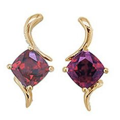 Garnet Earrings (rhodalite garnet)  in 14 ky  https://www.goldinart.com/shop/colored-gemstone-earrings/garnet-earrings-rhodalite-garnet-14-ky #14KaratYellowGold, #Garnet, #Rhodalite