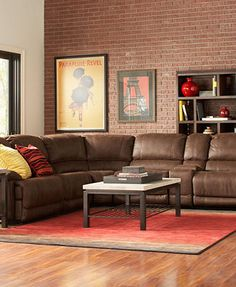 Liam Fabric 6 Piece Power Motion Sectional Sofa With 3 Power Motion Recliners