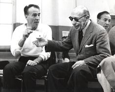 """George Balanchine and Igor Stravinsky working on """"Agon,"""" School of American Ballet studio, 1956 George Balanchine, Marathon Man, Ballet Studio, Bob Hope, City Ballet, New Comedies, Contemporary Classic, Artist Life, Paris"""