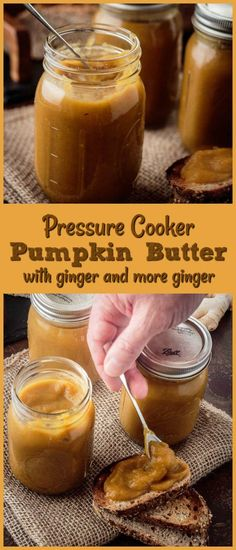 Pressure Cooker Pumpkin Butter Pin - Creamy Pressure Cooker Pumpkin Butter tickles your tongue with the traditional warm spices and a burst of flavor from the double-ginger duo of fresh minced ginger and ginger beer! This delightful, creamy pumpkin butter elevates a humble piece of toast, and makes a great addition to a fall cocktail... #pumpkinbutter #fallrecipes #pressurecooker #instantpotrecipes #pressurecookerpumpkinbutter #pumpkinrecipes #fruitbutters
