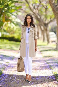 Beige  White, trench coat and jeans pairing