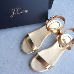 J. Crew Gold Abbot Sandals These sandals are absolutely gorgeous. Retails for $98, so this is such a great price for them. Great edition to the perfect summer outfit! The leather straps and rubber soles make a very comfortable and long-lasting shoe. Brand new in the box, these have never been worn! J. Crew Shoes Sandals