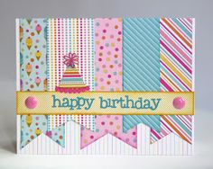 By Mendi: Some more Doodlebug Sugar Shoppe Birthday Cards - This is such a happy card.Snippets By Mendi: Some more Doodlebug Sugar Shoppe Birthday Cards - This is such a happy card. Scrapbook Birthday Cards, Girl Birthday Cards, Bday Cards, Handmade Birthday Cards, Greeting Cards Handmade, Scrapbook Cards, Diy Birthday, Cricut Birthday Cards, Birthday Design