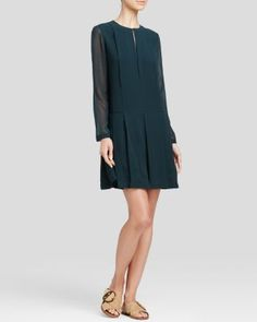 Tory Burch Pleated Silk Dress   Bloomingdale's