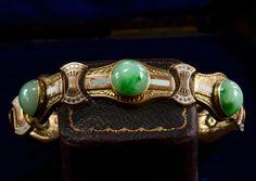 1920s Art Deco Jade and Enamel Bracelet, 10K Gold, $1275
