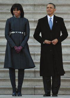 Barack Obama and Michelle Obama at Inauguration Parade