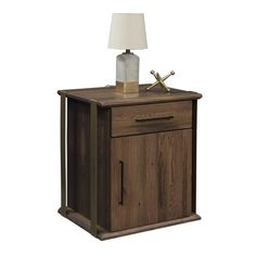 Reclaimed Barnwood 1869 1-Drawer 1-Door Nightstand Built with beautiful barnwood, these nightstands emit rustic warmth. You can choose finish color, hardware, top edge and more. Solid wood bedside storage with lots of character. #nightstands #bedroomfurniture #barnwood