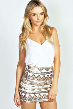Sequin Mini Skirt.. If the tank top wasn't so low cut | Clothes ...