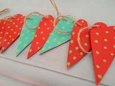 Cheerful Wooden hanging heart garlands.   by Lemongrass0811 £10.00 on Etsy