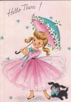vintage card with pretty girl in pink dress.