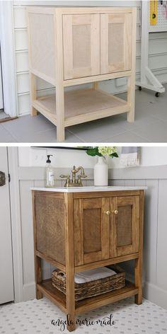 Bathroom Vanity Designs, Rustic Bathroom Vanities, Diy Vanity, Wood Vanity, Small Bathroom With Tub, Small Bathroom Storage, Bathroom Design Small, Furniture Vanity, Bathroom Furniture