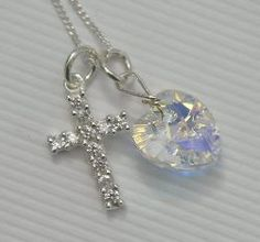 First Communion Cubic Zirconia Cross Necklace for Girls