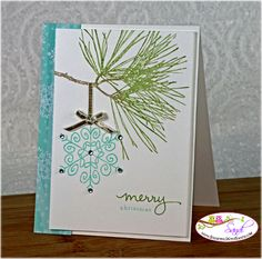 Stampin Up endless Wishes and Ornamental Pine card by Sandi @ www.stampingwithsandi.com