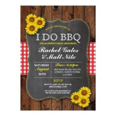 I DO BBQ Barbecue Wedding Couples Shower ENGAGEMENT Party Celebration Chalk Sunflowers Rustic Country Wood Red Invite Announcements Invitations~Order 25 invites and save 15%, order 50+ invites and save 25% off every order, great DEAL!*   #wedding #engagement #coupleshower #sunflowers #rustic #country