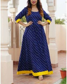 Blue And Yellow Bandhej Maxi Bandhani Dress, Kalamkari Dresses, Ikkat Dresses, Indian Gowns Dresses, African Fashion Dresses, Indian Designer Outfits, Designer Dresses, Frock Fashion, Women's Fashion