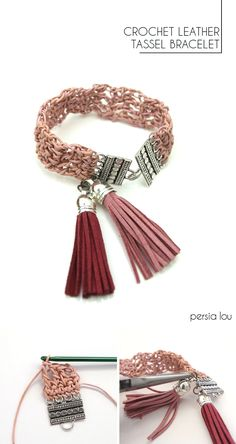 Pandora Jewelry OFF!>> Crochet Leather Bracelet - crochet thin leather cord into a pretty bracelet! Jewelry Clasps, Leather Jewelry, Diy Jewelry, Beaded Jewelry, Jewelry Making, Leather Cord, Making Bracelets, Leather Tassel, Jewlery