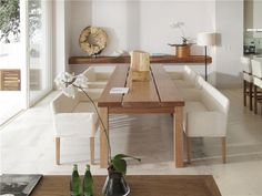 Dining table with white benches
