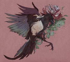korean magpie and clover flower, commission pt.1 for Sophia  you know I love drawing corvids..  pt. 2 here